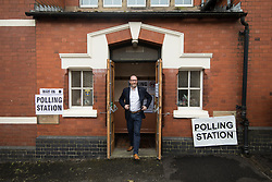 © Licensed to London News Pictures . 08/06/2017. Congleton, UK. UKIP leader Paul Nuttall leaves a polling station in Rood Lane Methodist Church after voting in the general election . Photo credit: Joel Goodman/LNP