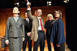 © Licensed to London News Pictures. 13/04/2016. Cast performing at the press night for Corbyn The Musical: The Motorcycle Diaries, at Waterloo East Theatre in London.  Cast members include Martin Neely (Jeremy Corbyn), Natasha Lewis(Diane Abbott) and James Dinsmore(Tony Blair). Photo credit: Ray Tang/LNP