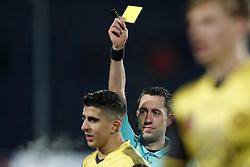 (L-R) Mohamed El Makrini of Roda JC, referee Dennis Higler during the Dutch KNVB quarter final match between Willem II Tilburg and Roda JC Kerkrade at Koning Willem II stadium on February 01, 2018 in Tilburg, The Netherlands