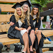 """23.08.2016        <br /> Over 300 students graduated from the Faculty of Arts, Humanities and Social Science at the University of Limerick today. <br /> <br /> Attending the conferring ceremony were graduates, Ciara Jayne Byrnes, Birdcall Co. Tipperary, Bachelor of Arts (Joint Honours) with Bachelor of Arts in New Media and English, Jill O'Toole, North Circular Road Limerick and Chloe Cunneen, Ballyneety Co. Limerick. Picture: Alan Place.<br /> <br /> <br /> <br /> <br /> UL Graduates Employability remains consistently high as they are 14% more likely to be employed after Graduation than any other Irish University Graduate<br /> Each year, the Careers Service collects information about the 'First Destinations' of UL graduates. During the April/May period following graduation, we survey those who have completed full-time undergraduate and postgraduate courses for details on their current status. This current survey was conducted nine months after graduation and focuses on the employment and further study patterns of the graduates of 2015. A total of 2,933 graduates were surveyed and a response rate of 87% was achieved. <br /> As the University of Limerick commences four days of conferring ceremonies which will see 2568 students graduate, including 50 PhD graduates, UL President, Professor Don Barry highlighted the continued demand for UL graduates by employers; """"Traditionally UL's Graduate Employment figures trend well above the national average. Despite the challenging environment, UL's graduate employment rate for 2015 primary degree-holders is now 14% higher than the HEA's most recently-available national average figure which is 58% for 2014"""". The survey of UL's 2015 graduates showed that 92% are either employed or pursuing further study."""" Picture: Alan Place"""