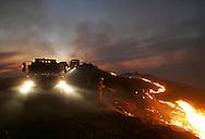 Firefighters set a backfire while battling the Sierra fire along a ridge above Irvine Lake Tuesday February 7, 2006.