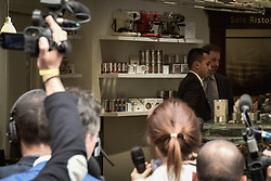 April 17, 2018 - Rome, Italy, Italy - The head of the Association Rousseau, Davide Casaleggio, in Rome to meet with the leader five-star Movement (M5s,) Luigi Di Maio. The son of the co-founder of the M5s met with the political leader of the M5s from the offices of Montecitorio and were at lunch near the Chamber in a cafe in front of the offices of the parliamentary groups . on April 17, 2018 in Rome, Italy  (Credit Image: © Andrea Ronchini/NurPhoto via ZUMA Press)