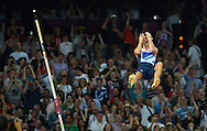 Great Britain's Steven Lewis reacts after missing a vault in the Men's Pole Vault Final at the London 2012 Summer Olympics on August 10, 2012 in Stratford, London. Lewis placed fifth in the competition with a vault of 5.75M in the final.  (UPI)