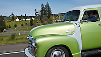 scene along a cross country trip with in a classic Mini Cooper auto - classic 1954 GMC Carryall on I-5 (the model I learned to drive with when I was 16 in the early '60's)