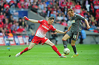 Leyton Orient's John Lundstram vies for possession with Rotherham United's Robert Milsom <br /> <br /> Photographer Chris Vaughan/CameraSport<br /> <br /> Football - The Football League Sky Bet League 1 Play-Off Final - Leyton Orient v Rotherham United - Sunday 25th May 2014 - Wembley Stadium - London<br /> <br /> © CameraSport - 43 Linden Ave. Countesthorpe. Leicester. England. LE8 5PG - Tel: +44 (0) 116 277 4147 - admin@camerasport.com - www.camerasport.com
