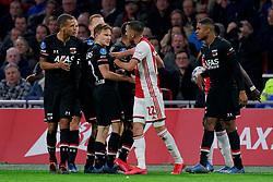 Hakim Ziyech #22 of Ajax and Ramon Leeuwin #27 of AZ Alkmaar, Myron Boadu #9 of AZ Alkmaar during the Dutch Eredivisie match round 25 between Ajax Amsterdam and AZ Alkmaar at the Johan Cruijff Arena on March 01, 2020 in Amsterdam, Netherlands