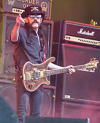 © Licensed to London News Pictures. 26/06/2015. Pilton, UK.  Motorhead performing on the The Pyramid Stage stage at Glastonbury Festival 2015 on Friday Day 3 of the festival.  This years headline acts include Kanye West, The Who and Florence and the Machine, the latter being upgraded in the bill to replace original headline act Foo Fighters.   Photo credit: Richard Isaac/LNP