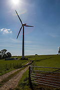 The path leading to St Briavels wind turbine, at Great Dunkilns Farm, St. Briavels, Lydney. A renewable energy community project supported by the Resilience centre, Forest of Dean. Gloucestershire.