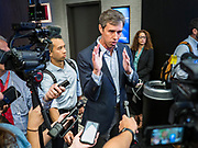 21 AUGUST 2019 - ALTOONA, IOWA: Former Congressman BETO O'ROURKE (D-TX) talks to reporters after his speech at the Iowa Federation of Labor convention. Many of the Democratic presidential candidates are addressing the Iowa Federation of Labor convention at the Prairie Meadow Casino in Altoona. They are hoping to secure labor support before the Iowa Caucuses on Feb. 3, 2020.      PHOTO BY JACK KURTZ