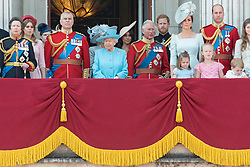 © Licensed to London News Pictures. 09/06/2018. London, UK. PRINCESS ROYAL, DUKE OF YORK, QUEEN ELIZABETH II, PRINCE CHARLES, The DUKE OF SUSSEX and MEGHAN DUCHESS OF SUSSEX, CATHERINE DUCHESS OF CAMBRIDGE, PRINCESS CHARLOTTE, DUKE OF CAMBRIDGE and PRINCE GEORGE OF CAMBRIDGE on the balcony of Buckingham Palace after attending Trooping The Colour ceremony in London. This years event is part of a weekend of celebration to mark the 92th birthday of Queen Elizabeth II, who is Britain's longest reigning monarch.Photo credit: Ray Tang/LNP