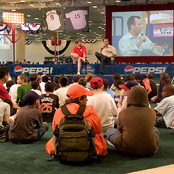 Former Major Leaguer Robb Nen (cq) talks to children during the a baseball skills clinic on The Diamond inside the 2007 DHL All-Star FanFest, Saturday, July 7 at Moscone Center West in San Francisco...Photo by David Calvert/MLB.com