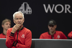 September 21, 2018 - Chicago, Illinois, U.S - Team World coach JOHN MCENROE looks on during the second singles match on Day One of the Laver Cup at the United Center in Chicago, Illinois. (Credit Image: © Shelley Lipton/ZUMA Wire)