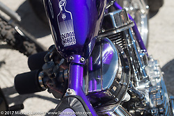 Detail of a Bill Dodge Blings Cycles custom Harley-Davidson Panhead at the Choppertime Old School Bike Show held at Willie's Tropical Tattoo during Daytona Bike Week. Ormond Beach, FL. USA. Thursday March 16, 2017. Photography ©2017 Michael Lichter.
