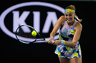 Petra Kvitova of the Czech Republic in action during her first round match at the 2020 Australian Open, WTA Grand Slam tennis tournament on January 20, 2020 at Melbourne Park in Melbourne, Australia - Photo Rob Prange / Spain ProSportsImages / DPPI / ProSportsImages / DPPI