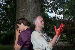 Pictured:   Bard in the Botanics . The latest production features a version of Macbeth set in 1950s, directed by Gordon Barr. Kirk Bage (Macbeth) and Nicole Cooper (Lady Macbeth) have blood on their hands as they perform the murder of Duncan scene on the main stage<br /> Karen Gordon  (c) Edinburgh Elite media Date<br /><br /><br />(c) Karen Gordon   Edinburgh Elite media