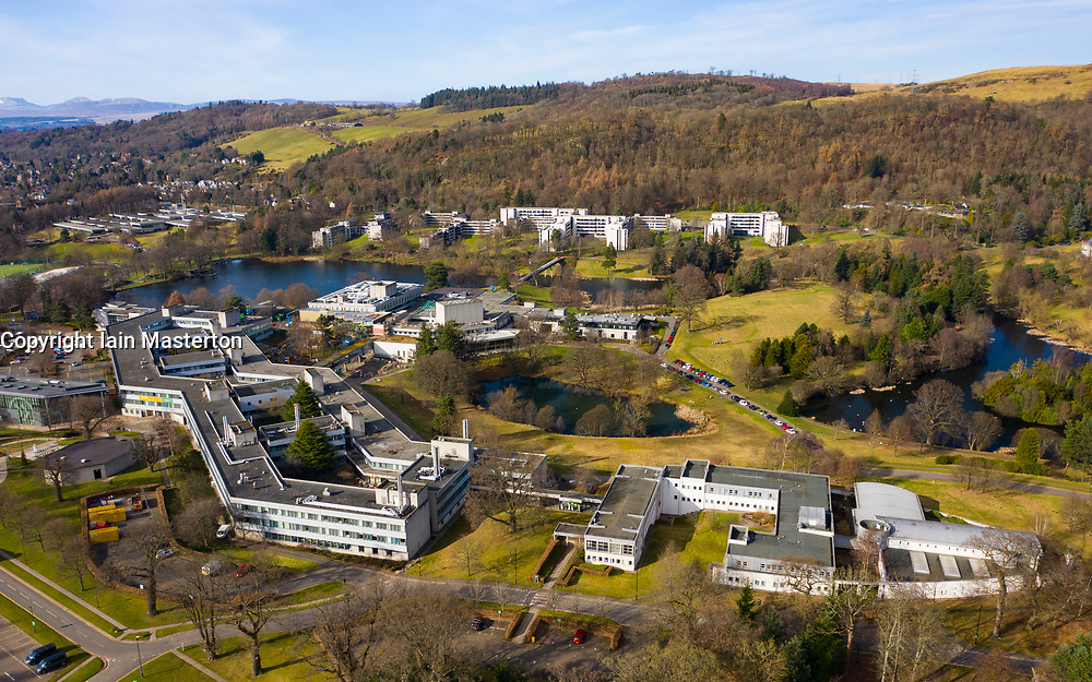 Aerial view of campus of University of Stirling ( Stirling University), Stirling, Scotland, Uk