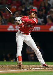 May 16, 2018 - Anaheim, CA, U.S. - ANAHEIM, CA - MAY 16: Los Angeles Angels of Anaheim designated hitter Shohei Ohtani (17) swings and misses a pitch away for strike three in the sixth inning of a game against the Houston Astros played on May 16, 2018 at Angel Stadium of Anaheim in Anaheim, CA.(Photo by John Cordes/Icon Sportswire) (Credit Image: © John Cordes/Icon SMI via ZUMA Press)
