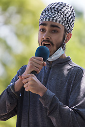 A member of Slough Youth Parliament addresses local people taking part in a peaceful protest in solidarity with the Black Lives Matter movement on 13th June 2020 in Salt Hill Park in Slough, United Kingdom. Protests in solidarity with the Black Lives Matter movement have taken place across the United States and in many countries around the world.