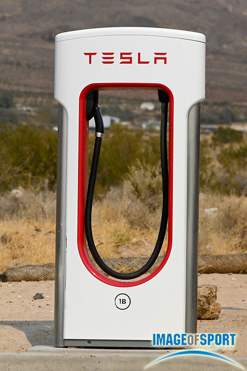 Detailed view of a Tesla Super Charger at EddieWorld, Monday, Sept. 14, 2020, in Yermo, Calif. (Dylan Stewart/Image of Sport)