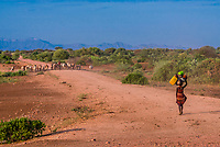 Dassanach tribe people walking to their village, Omo Valley, Ethiopia.