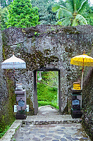 Bali, Gianyar, Gunung Kawi. An 11th century temple complex close to Tampaksiring. The stairway to the monument cuts through solid rock.