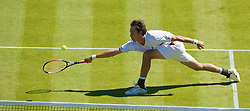 LONDON, ENGLAND - Wednesday, June 24, 2009: Simon Greul (GER) during the Gentlemen's Singles 2nd Round match on day three of the Wimbledon Lawn Tennis Championships at the All England Lawn Tennis and Croquet Club. (Pic by David Rawcliffe/Propaganda)