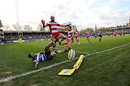 Gloucester scrum half captain Willi Heinz (9) nearly closes down a try in the corner during the Aviva Premiership match between Bath Rugby and Gloucester Rugby at the Recreation Ground, Bath, United Kingdom on 29 October 2017. Photo by Gary Learmonth.