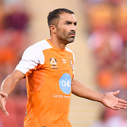 BRISBANE, AUSTRALIA - MARCH 31: Fahid Ben Khalfallah of the Roar reacts to a refereeing decision during the Round 25 Hyundai A-League match between Brisbane Roar and Central Coast Mariners on March 31, 2018 in Brisbane, Australia. (Photo by Patrick Kearney / Brisbane Roar FC)