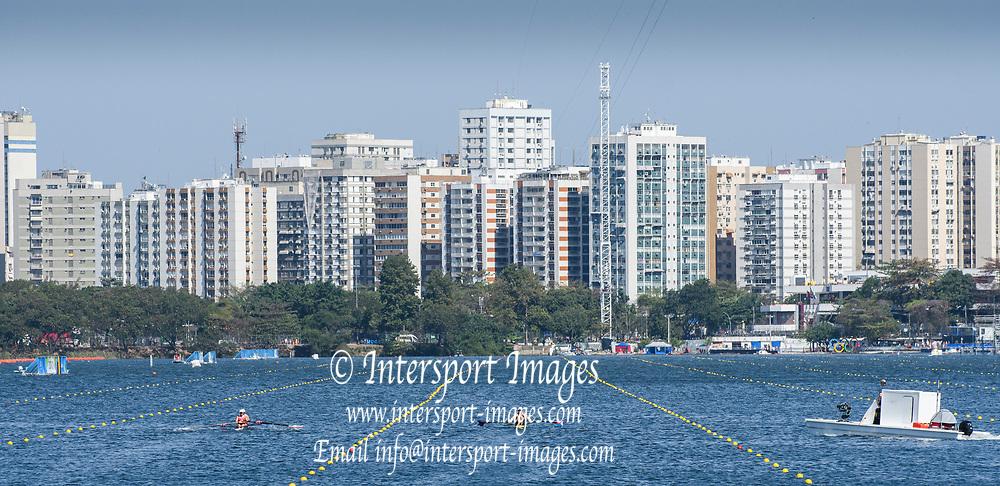 "Rio de Janeiro. BRAZIL.   USA W2X,  Bow  Meghan, O'LEARY, Ellen TOMEK,  racing into the Rio City Scape, 2016 Olympic Rowing Regatta. Lagoa Stadium,<br /> Copacabana,  ""Olympic Summer Games""<br /> Rodrigo de Freitas Lagoon, Lagoa. Local Time 11:30:03   Saturday  06/08/2016 <br /> <br /> [Mandatory Credit; Peter SPURRIER/Intersport Images]"