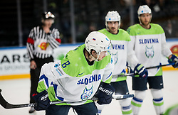 Ziga Jeglic of Slovenia during the 2017 IIHF Men's World Championship group B Ice hockey match between National Teams of Finland and Slovenia, on May 10, 2017 in AccorHotels Arena in Paris, France. Photo by Vid Ponikvar / Sportida