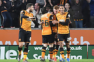 Hull City celebrate  Hull City midfielder Sam Clucas scoring to go 3-0 up  during the Sky Bet Championship match between Hull City and Burnley at the KC Stadium, Kingston upon Hull, England on 26 December 2015. Photo by Ian Lyall.