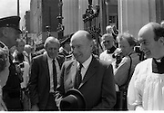 Mass For The 26th Dail.     (T3)..1989..29.06.1989..06.29.1989..29th June 1989..After the General Election  a mass took place today at the Pro-Cathedral in Dublin. The mass was to bless   the incoming TD's who were successful in their election to the Dáil...President Hillery is pictured leaving the Pro-Cathedral after the mass.