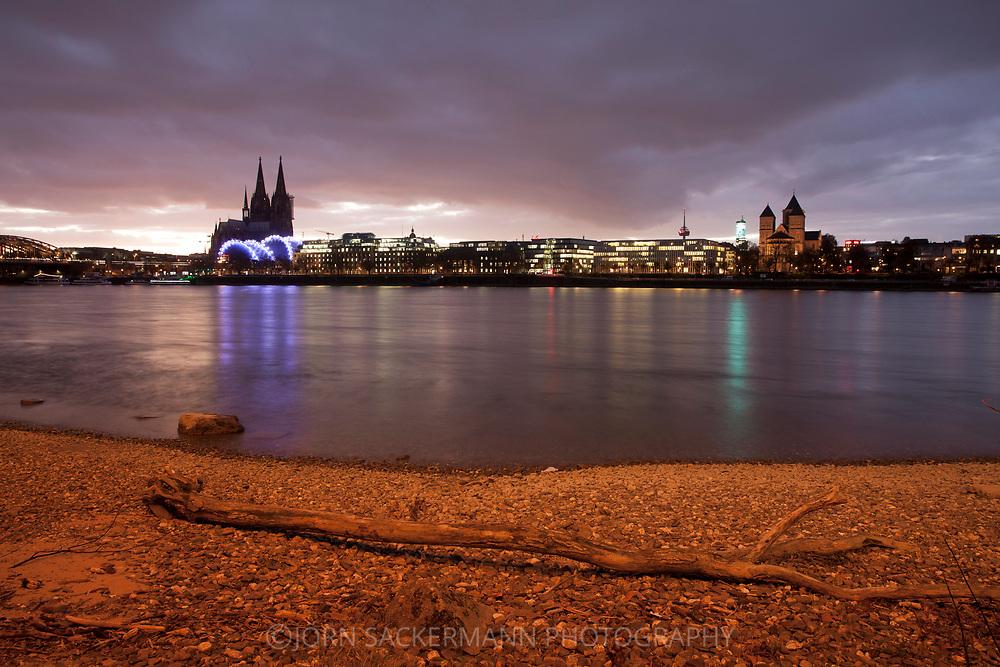 view from the district Deutz to the cathedral, the theater Musical Dome and church St. Kunibert, Rhine, Cologne, Germany.<br /> <br /> Blick von Deutz zum Dom, Zelttheater Musical Dome und St. Kunibert Kirche, Rhein, Koeln, Deutschland.
