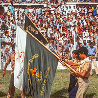 Boy Scouts march at a stadium in Dhaka, Bangladesh, celebrating thier 1971 independence from Pakistan. 1977 photo