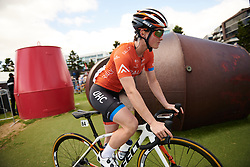 Heidi Franz (USA) weaves through the buoys to sign on at Deakin University Elite Women Cadel Evans Road Race 2019, a 113 km road race starting and finishing in Geelong, Australia on January 26, 2019. Photo by Sean Robinson/velofocus.com