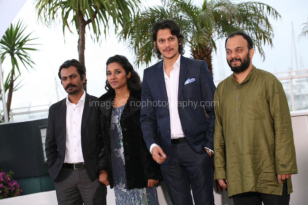 Actor Nawazuddin Siddiqui, actress Tannishtha Chatterjee, actor Vijay Verma and director Amit Kumar at the Monsoon Shootout film photocall at the Cannes Film Festival 18th May 2013