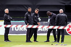 (Left-right) Umpire's Paul Reynolds, Kumar Dharmasena, Television umpire Aleem Dar, Match Official Sir Richie Richardson, and umpire Alan Neill inspecting the field before the One Day International match at Malahide Cricket Club, Dublin.