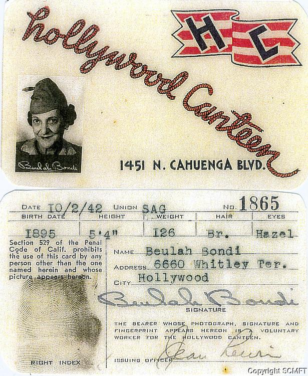 10/2/42 Actress Beulah Bondi's Hollywood Canteen ID card
