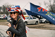 """06 DECEMBER 2020 - DES MOINES, IOWA: People wait for a rally in support of US Donald Trump to start. About 1,000 supporters of outgoing US President Donald Trump rallied in Des Moines Sunday to show their support for the President and to protest the outcome of the US Presidential election. They started with a rally in the suburbs of Des Moines then drove in a motorcade through the city, ending at the State Capitol. They repeated many of Trump's discredited claims that the election was marked by fraud and that Trump actually won. The protest was a part of the national """"March for Trump"""" effort, culminating in a march in Washington DC on December 13. Joe Biden won the election, with 306 electoral votes to Trump's 232.       PHOTO BY JACK KURTZ"""
