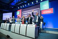 27 MAY  2016, BERLIN/GERMANY:<br /> Raed Saleh (2.v.R.), SPD Fraktionsvorsitzender Berliner Abgeordnetenhaus, und Michael Mueller (R), SPD, Regierender Buergermeister Berlin, nach der Rede von Mueller, Landesparteitag der SPD Berlin, Station Berlin<br /> IMAGE: 20160527-01-080<br /> KEYWORDS: party congress, Parteitag, Michael Müller, Jubel, Applaus, applaudieren, klatschen