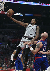 November 15, 2018 - Los Angeles, California, U.S - Marcin Gortat #13 of the Los Angeles Clippers drives is not able to stop Rudy Gay #22 of the San Antonio Spurs during their NBA game on Thursday November 15, 2018 at the Staples Center in Los Angeles, California. Clippers defeat Spurs, 116-111. (Credit Image: © Prensa Internacional via ZUMA Wire)