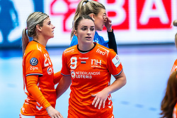 Angela Malestein of Netherlands, Larissa Nusser of Netherlands during the Women's EHF Euro 2020 match between Netherlands and Germany at Sydbank Arena on december 14, 2020 in Kolding, Denmark (Photo by RHF Agency/Ronald Hoogendoorn)