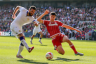 Leeds United forward Mirco Antenucci   gets a shot off during the Sky Bet Championship match between Middlesbrough and Leeds United at the Riverside Stadium, Middlesbrough, England on 27 September 2015. Photo by Simon Davies.