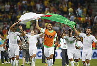Fotball<br /> VM 2014<br /> Russland v Algerie<br /> 26.06.014<br /> Foto: imago/Digitalsport<br /> NORWAY ONLY<br /> <br /> Algeria s players react after a Group H match between Algeria and Russia of 2014 FIFA World Cup at the Arena da Baixada Stadium in Curitiba, Brazil, June 26, 2014. Algeria enters Round of 16 after the Thursday match which ended in a 1-1 draw.