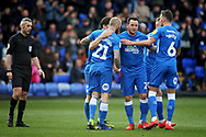 Peterborough Utd forward Marcus Maddison (21) celebrates his second goal with team mates during the EFL Sky Bet League 1 match between Peterborough United and Wycombe Wanderers at London Road, Peterborough, England on 2 March 2019.