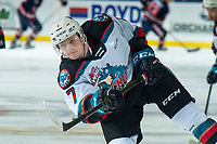 KELOWNA, BC - DECEMBER 27: Conner McDonald #7 of the Kelowna Rockets warms up with a shot on net against the Kamloops Blazers at Prospera Place on December 27, 2019 in Kelowna, Canada. (Photo by Marissa Baecker/Shoot the Breeze)