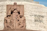 Sculpture on the base of the Freedom Monument, Riga, Latvia © Rudolf Abraham