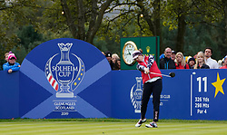 Auchterarder, Scotland, UK. 14 September 2019. Saturday morning Foresomes matches  at 2019 Solheim Cup on Centenary Course at Gleneagles. Pictured; Ally McDonald of USA tee shot on 11th hole.Iain Masterton/Alamy Live News