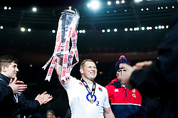 Dylan Hartley of England lifts the Six Nations trophy in celebration after the match - Mandatory byline: Patrick Khachfe/JMP - 07966 386802 - 19/03/2016 - RUGBY UNION - Stade de France - Paris, France - France v England - RBS Six Nations.