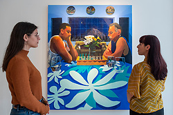 """© Licensed to London News Pictures. 22/10/2021. LONDON, UK. """"Chess with Dad (Mt. Rainier)"""", 2021, by Mikey Yates. Preview of """"Love Letters"""", a new exhibition by emerging Filipino American painter Mikey Yates featuring the artist's friends and family in a time characterised by separation and loss during the Covid-19 pandemic.  The works are on show at Taymour Grahne Projects gallery in Notting Hill 23 October to 20 November 2021.  Photo credit: Stephen Chung/LNP"""